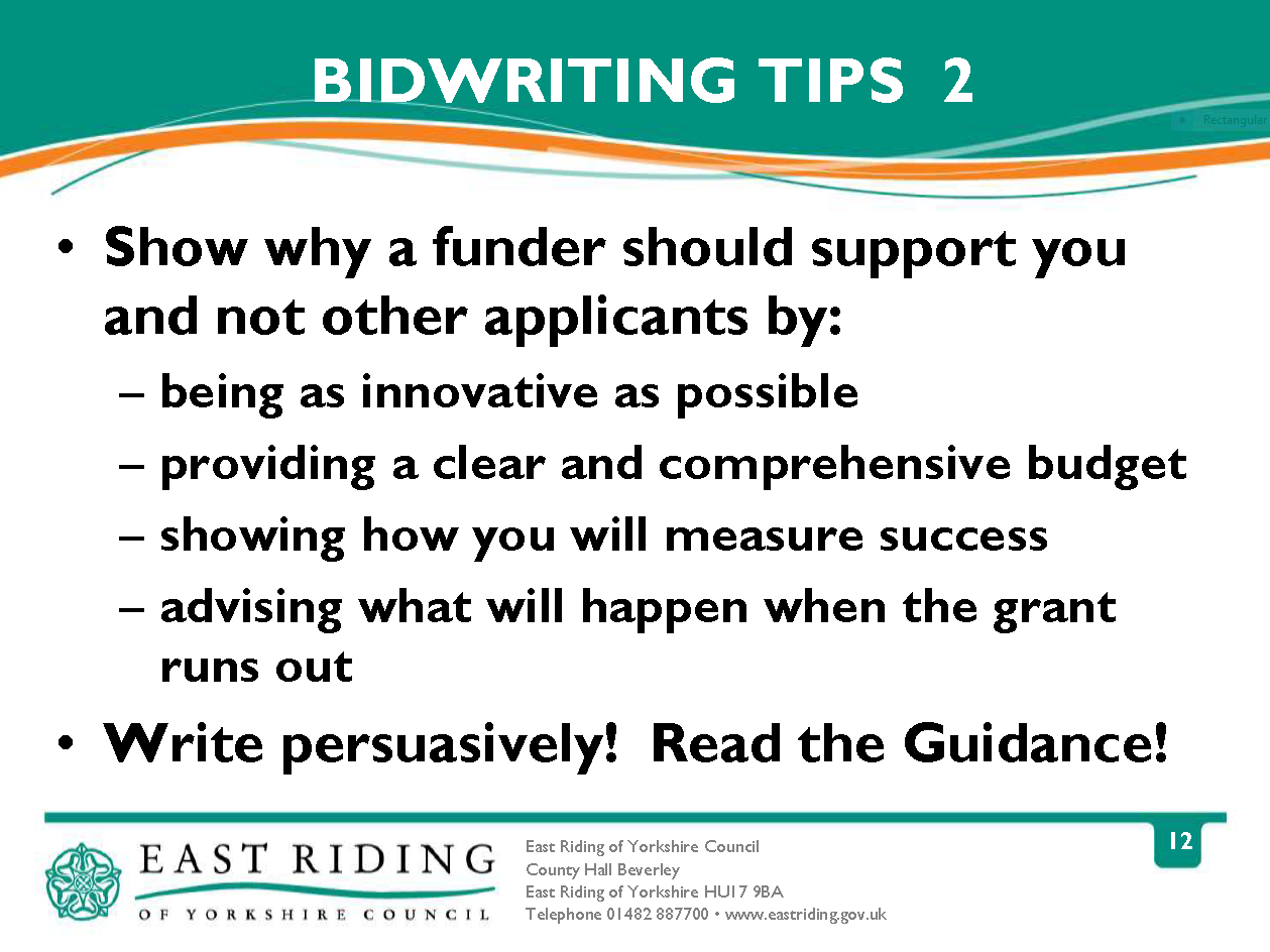bid writing tips March 25, 2015 | posted in: tenders bids proposals | tags: tender writing tips when a client asks how i can help them with a tender, my brain instantly flips through the hundreds of things you need to do (and do well) to write a winning bid.